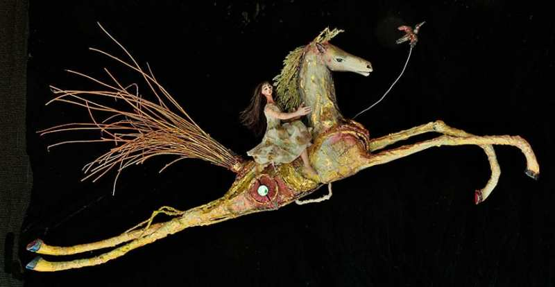 A Galope - At A Gallop - 3D mixed media assemblage by Visionary Mexican Native artist, Armando Adrian-Lopez now living and working in Abiquiu, NM