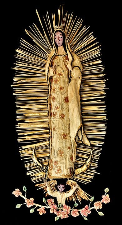 "Guadalupe - 3D mixed media assemblage - 43"" x 20"" x 8"" by Armando Adrian-Lopez completed 10/2016"