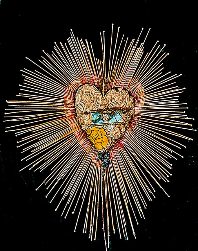 "Sagrado Corazon Sacred Heart 3D mixed media assemblage- 32"" x 29"" x 6"""
