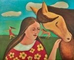 Angel Horse - oil painting by visionary Mexican artist, Armando Adrian-Lopez part of the Mujeres Al Borde Collection - Abiquiu, NM Completed 2017