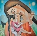 "Madre De Las Respuestas - Mother of The Answers - oil on canvas - 40"" x 40"" by Armando Adrian-Lopez"