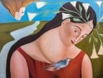 """Maria-Del-Silencio - Maria Of The Silence - oil on canvas - 30"""" x 40"""" by Armando Adrian-Lopez, visionary Mexican artist, living and working in Abiquiu, New ,Mexico - Completed Jan 2016"""