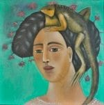 Mujer Con Iguana - oil on canvas - 20 x 20
