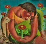 "Mujeres Al Borde Collection - Sembrador De Flores - Flower Planter oil on canvas .20"" x 21"" by Armando Adrian-Lopez"