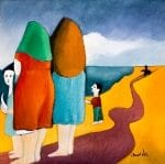 La Familia del Pescador - The Fisherman's Family - oil on board - 19