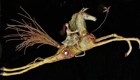 A Galope – At A Gallop – 3D mixed media Assemblage by Armando Adrian-Lopez – Mexican Visionary artist – Abiquiu New Mexico