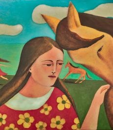 Angel Horse – oil painting by visionary Mexican artist, Armando Adrian-Lopez –  Part of the Mujeres Al Borde Collection – Abiquiu, NM 2017