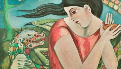 Pandora – Mujeres Al Borde Collection – oil on canvas – 20″ x 34″  by Armando Adrian-Lopez, a visionary Mexican artist , Abiquiu, NM completed 2017